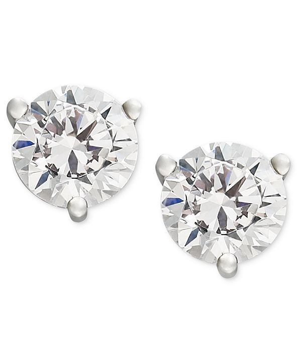 Macy's Certified Near Colorless Diamond Stud Earrings in 18k White  or Yellow Gold (1/4-1-1/4 ct. t.w.)