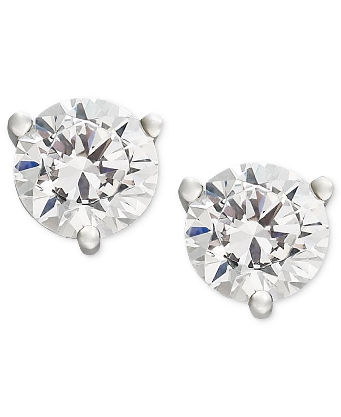 Macy's - Certified Near Colorless Diamond Stud Earrings in 18k White or Yellow Gold (1/4-1-1/4 ct. t.w.)