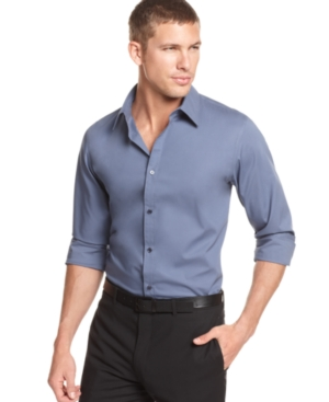 Calvin Klein Shirt, Solid Stretch Long Sleeve Shirt