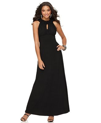 284390bd07bb Halter Keyhole Ruched Evening Gown - Dresses - Women - Macy s
