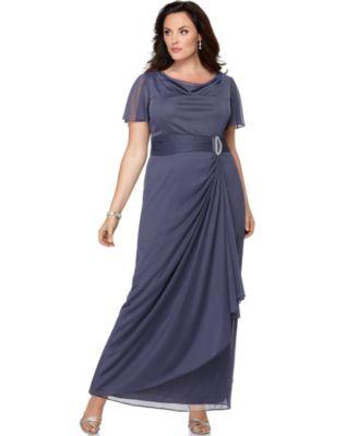 Onyx Plus Size Dress, Flutter Sleeve Cowlneck Chiffon Draped Evening Dress