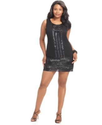 Adrianna Papell Plus Size Dress, Sleeveless Beaded Sequin Shift Cocktail Dress