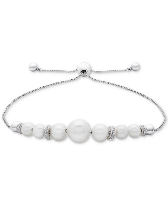 Macy's Cultured Freshwater Pearl (4-1/2mm to 8-1/2mm) & Diamond Accent Bolo Bracelet in Sterling Silver & Reviews - Bracelets - Jewelry & Watches - Macy's