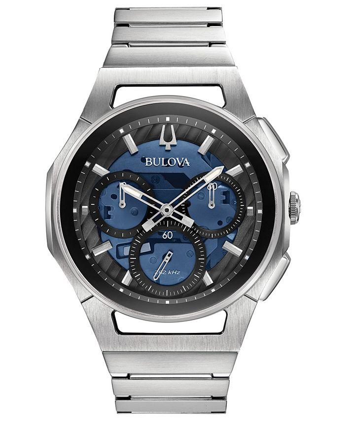 Bulova - Men's Chronograph Curv Stainless Steel Bracelet Watch 44mm