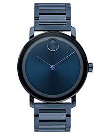 Movado Men's Swiss BOLD Evolution Blue Stainless Steel Bracelet Watch 40mm