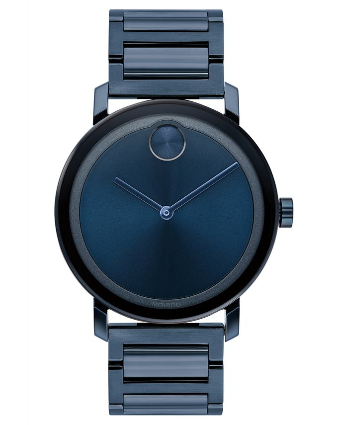 Movado - Men's Swiss BOLD Evolution Blue Stainless Steel Bracelet Watch 40mm