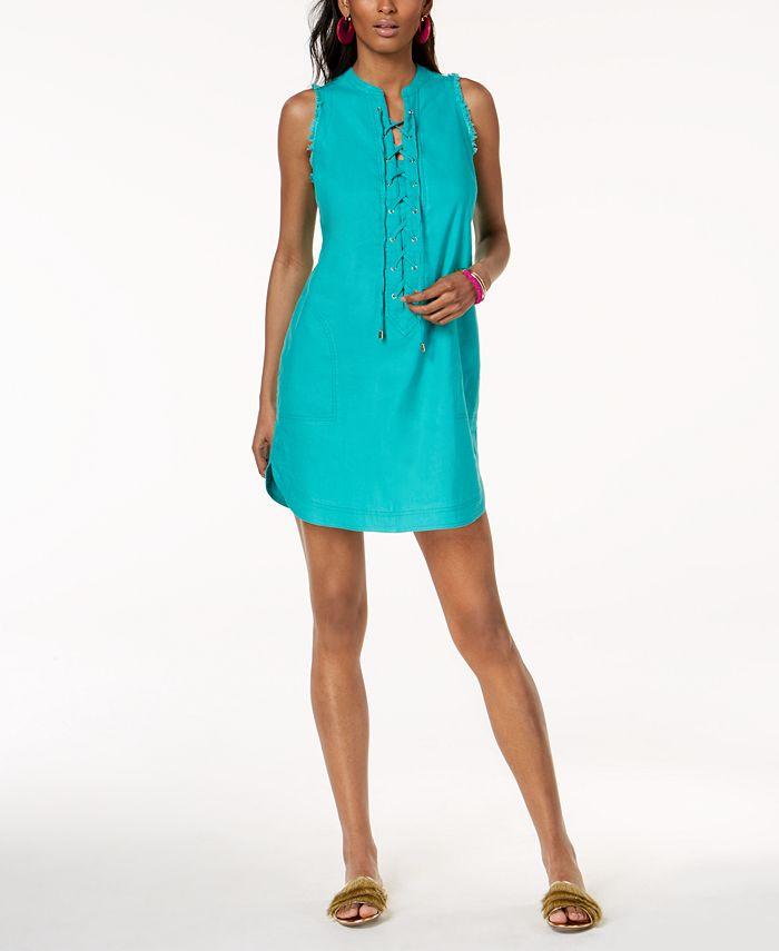 INC International Concepts - Lace-up Linen Blend Dress