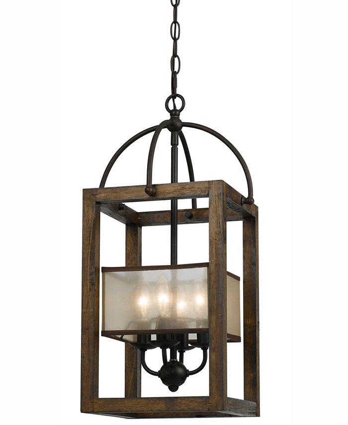 Cal Lighting - 4-Light Large Mission Wood/Metal Chandelier