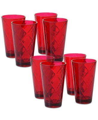 Ruby Diamond Acrylic Set of 8 Acrylic Ice Tea Glasses