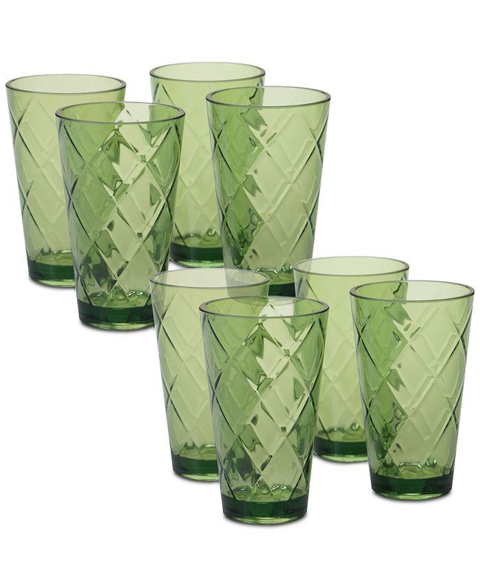 Certified International - Green Diamond Acrylic 8-Pc. Iced Tea Glass Set