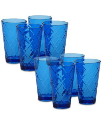 Cobalt Blue Diamond Acrylic 8-Pc. Iced Tea Glass Set