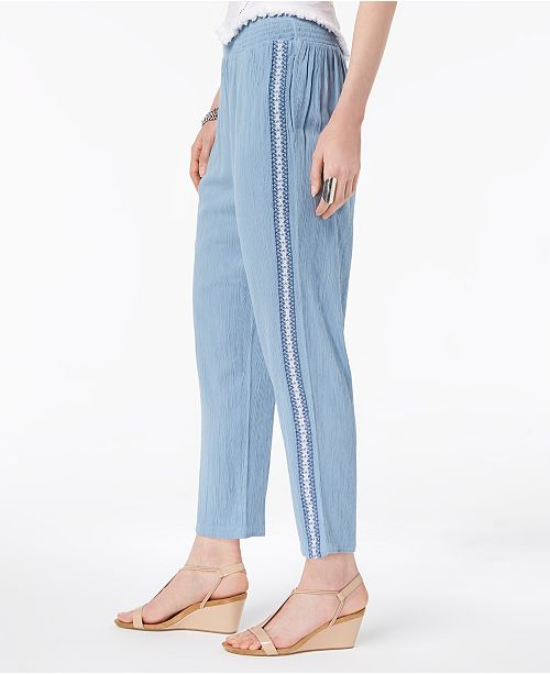 Style Co Crochet Trim Pull On Pants Created For Macy S Reviews Pants Leggings Women Macy S