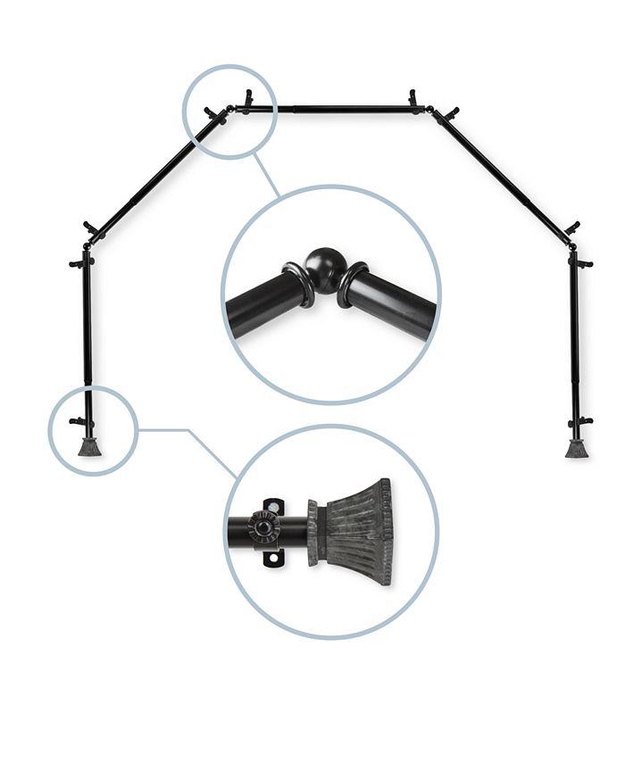 """Rod Desyne - Trumpet 13/16"""" 5-Sided Bay Window Curtain Rod 140""""-240"""""""