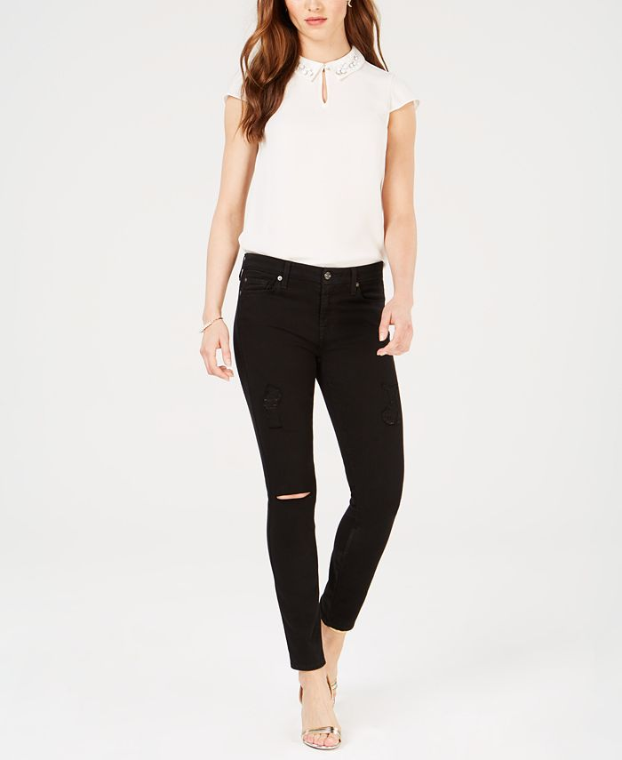 7 For All Mankind - Ripped Skinny Ankle Jeans