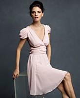 Karl Lagerfeld for Impulse Dress, Short Puff Sleeve Gathered Waist Tulle Trim