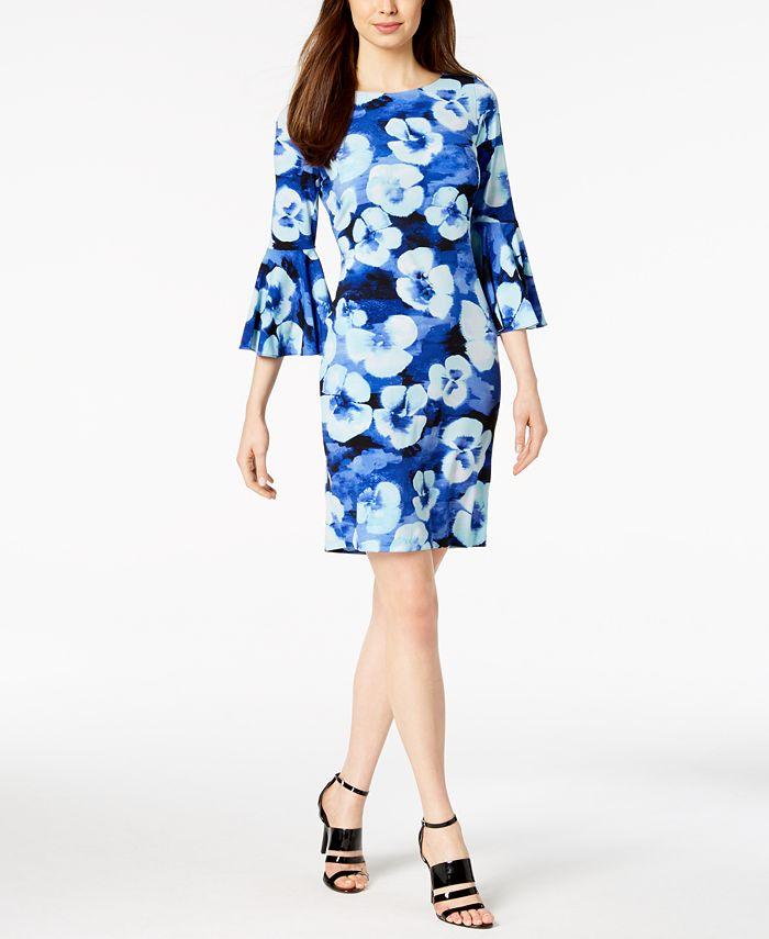 Calvin Klein - Printed Bell-Sleeve Sheath Dress