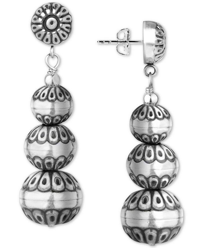 American West - Decorative Bead Drop Earrings in Sterling Silver