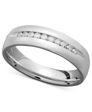 Men's Diamond Ring, Sterling Silver Diamond Milgrain Band (1/2 ct. t.w.)