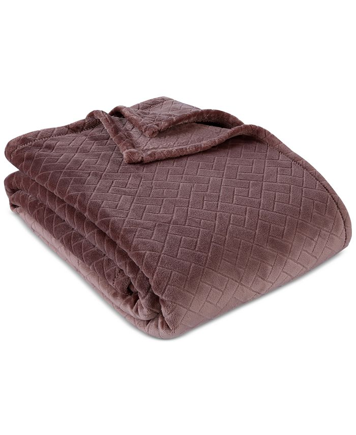 "Berkshire - Brighten VelvetLoft Basketweave 108"" x 90"" Blanket"