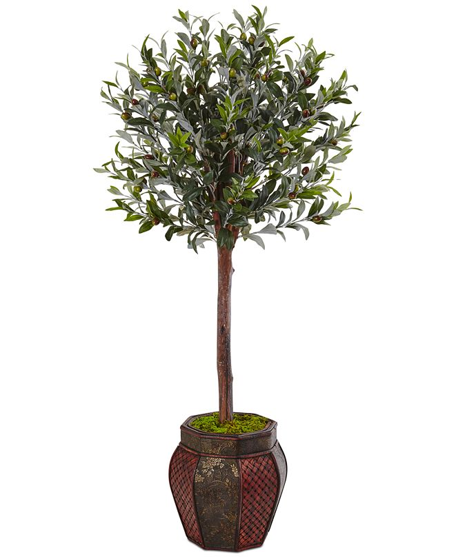 Nearly Natural 4.5' Olive Topiary Artificial Tree in Weave-Panel Planter