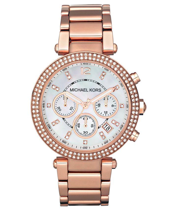 Michael Kors - Women's Chronograph Parker Rose Gold-Tone Stainless Steel Bracelet Watch 39mm MK5491