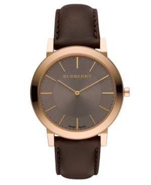 Burberry Watch, Men's Swiss Brown Leather Strap 30mm BU2354