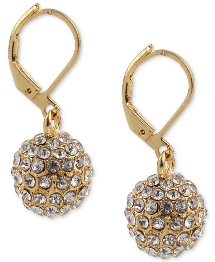 Charter Club - Gold-Tone Pavé Ball Drop Earrings