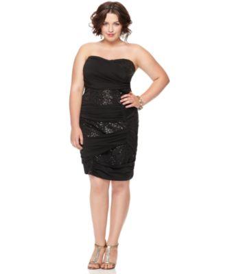 Trixxi Plus Size Dress, Strapless Sequin Bandage