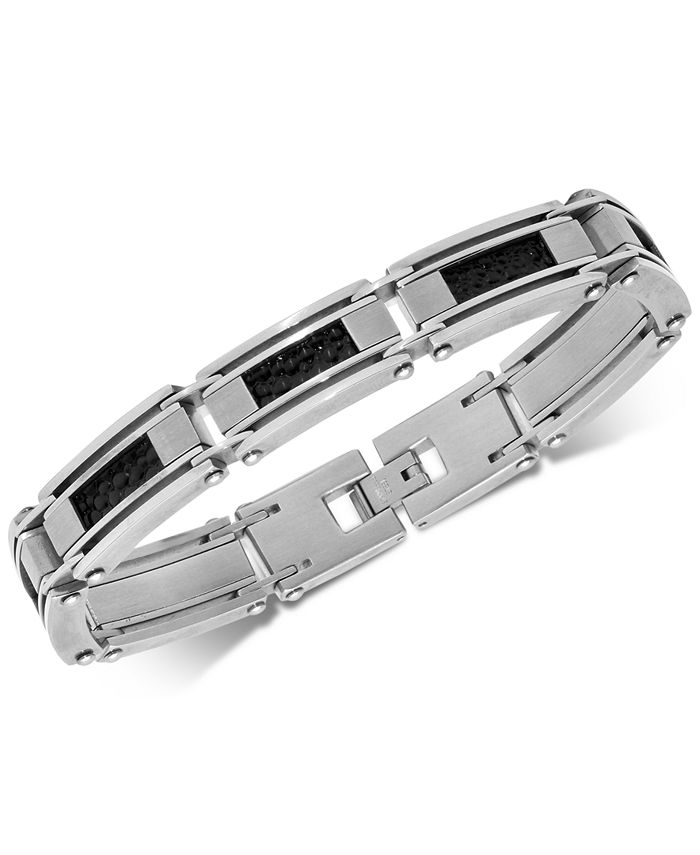Macy's - Men's Leather Inlay Link Bracelet in Stainless Steel
