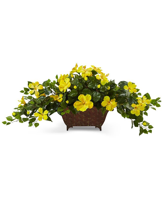 Nearly Natural Hibiscus Artificial Plant in Metal Planter