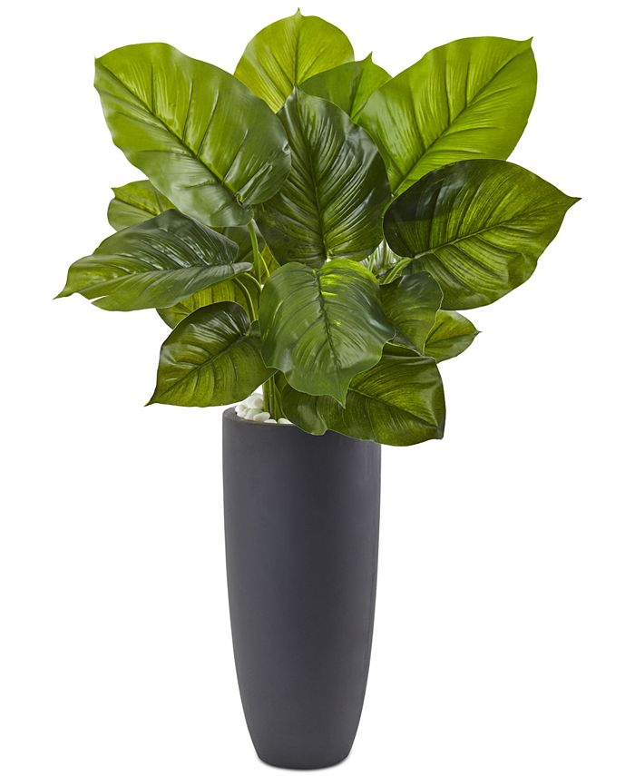 Nearly Natural - Large Leaf Philodendron Artificial Plant in Gray Cylindrical Planter