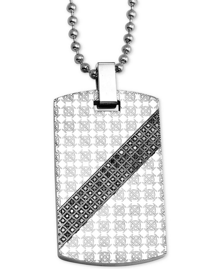 """Macy's - Men's Diamond Patterned Dog Tag 24"""" Pendant Necklace (1/2 ct. t.w.) in Stainless Steel"""