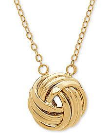 """Love Knot 18"""" Pendant Necklace in 14k Gold"""