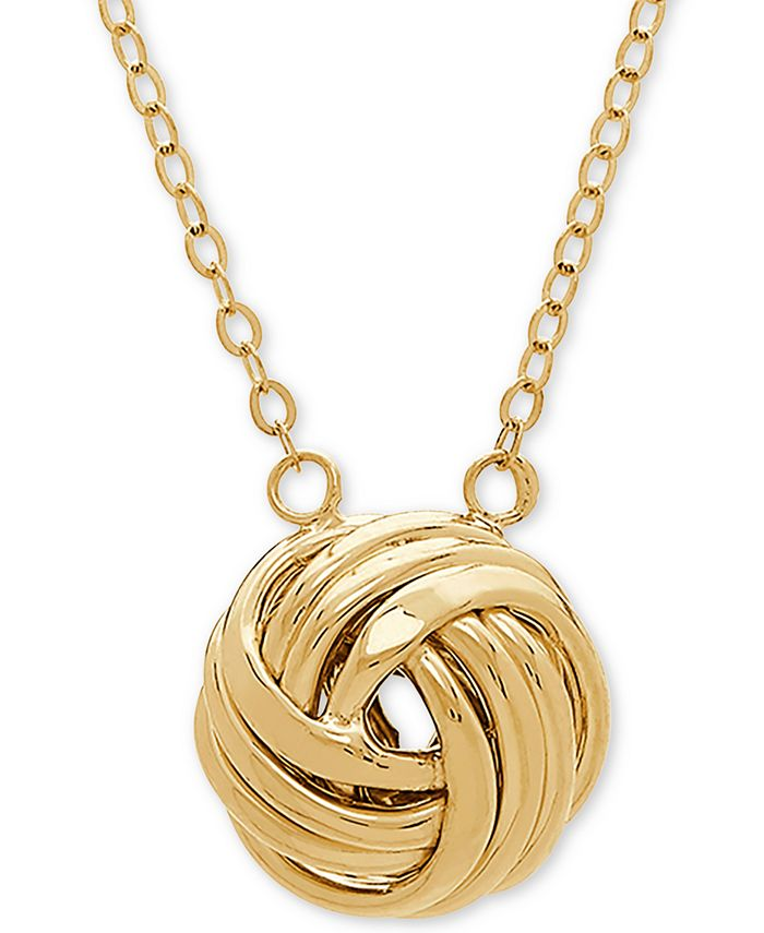 "Italian Gold - Love Knot 18"" Pendant Necklace in 14k Gold"