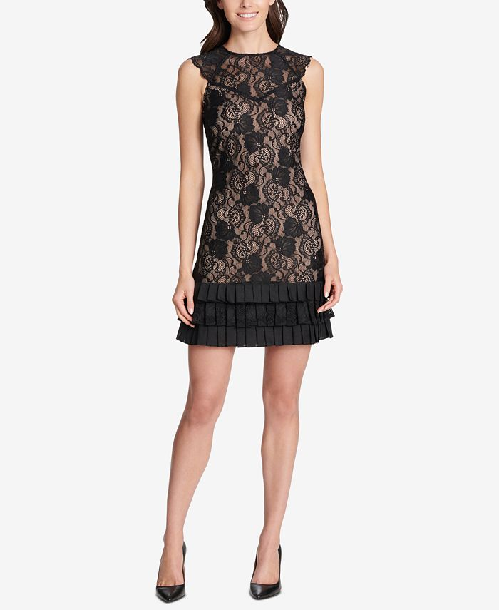 kensie - Lace Ruffled-Hem Dress