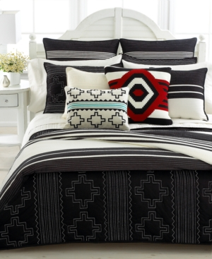 "Lauren by Ralph Lauren Bedding, Black Adobe Bold Stripe 18"" Square Throw Pillow Bedding"