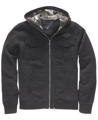 Calvin Klein Jeans Hoodie, Military Zip Up Hoodie - Hoodies & Fleece