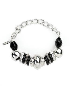 Nine West Bracelet, Silver Tone Jet Bead Stretch Bracelet