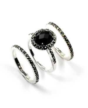 Judith Jack Ring Set, Sterling Silver Onyx Stackable Ring Set (14 ct. t.w.)