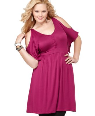 Soprano Plus Size Dress, Cold Shoulder Embellished Empire