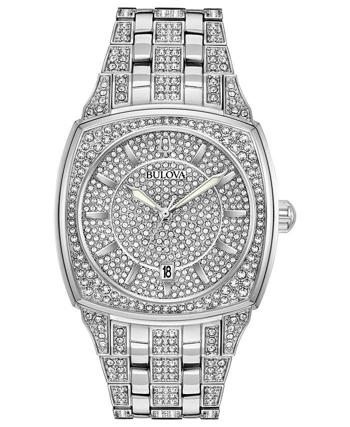 Bulova - Men's Stainless Steel & Crystal-Accent Bracelet Watch 40mm