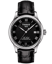Tissot Men's Swiss Automatic T-Classic Le Locle Powermatic 80 Black Leather Strap Watch 39.3mm