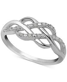 Diamond Open Weave Ring (1/10 ct. t.w.) in Sterling Silver