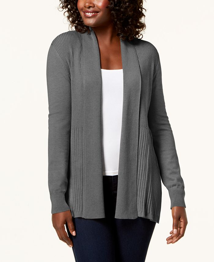 Karen Scott - Plus Size Ribbed-Bottom Shawl-Collar Cardigan Sweater