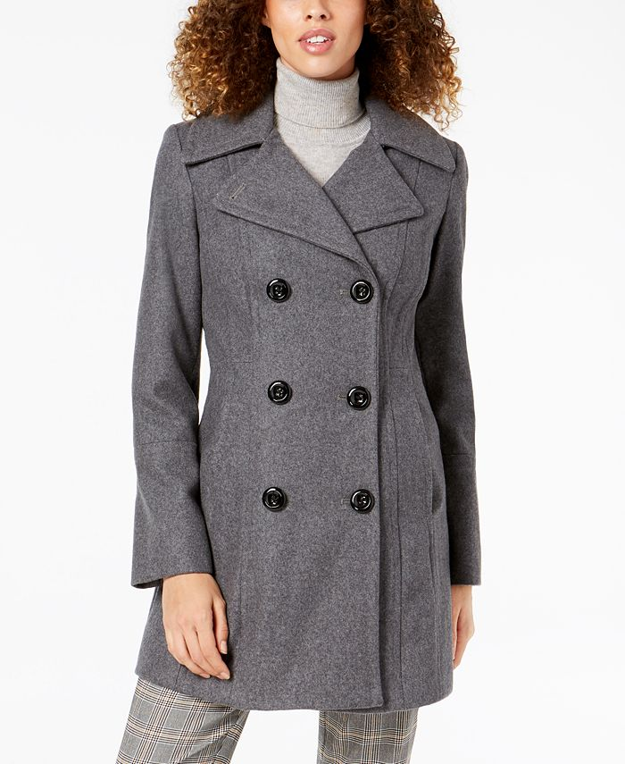 Anne Klein - Double-Breasted Peacoat