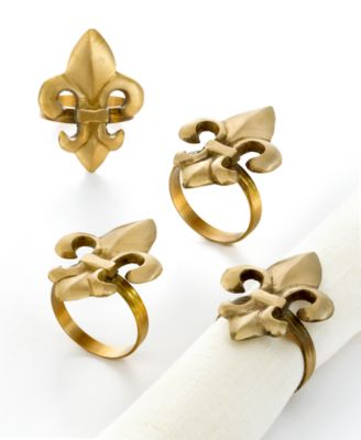 Excell Napkin Rings, Set of 4 Fleur de Lis
