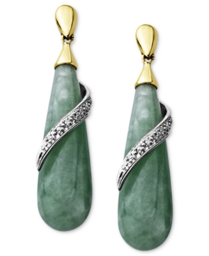 14k Gold and Sterling Silver Earrings, Jade and Diamond Accent Teardrop Earrings