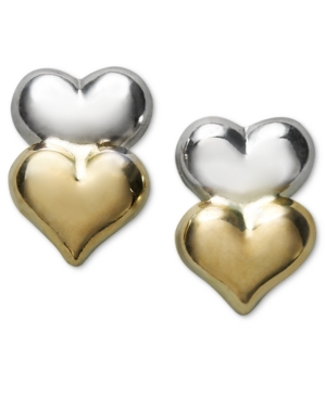 14k Gold and 14k White Gold Earrings, Double Heart Stud Earrings
