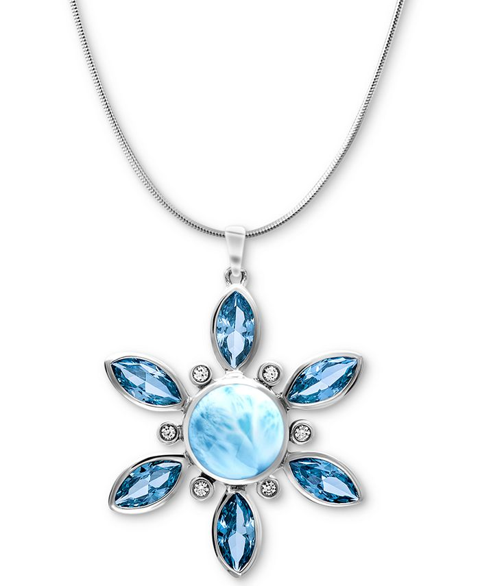 """Marahlago - Multi-Stone Flower 21"""" Pendant Necklace in Sterling Silver"""