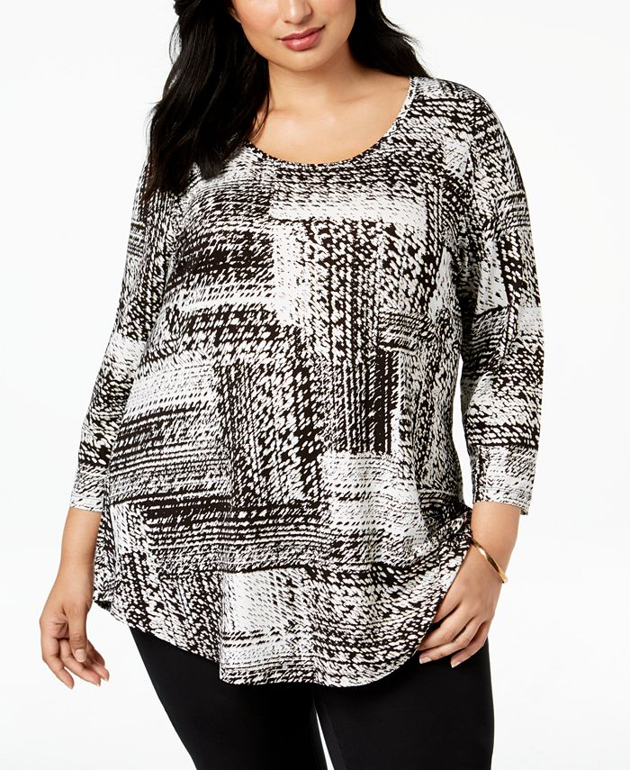 JM Collection - Plus Size Printed Top